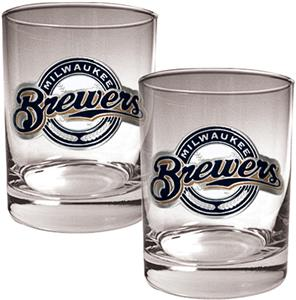 MLB Brewers 2 piece 14oz Rocks Glass Set