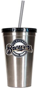 MLB Milwaukee Brewers Stainless Tumbler w/Straw