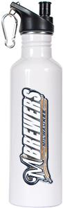 MLB Milwaukee Brewers White Stainless Water Bottle