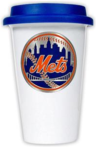 MLB Mets Double Wall Ceramic Cup with Blue Lid