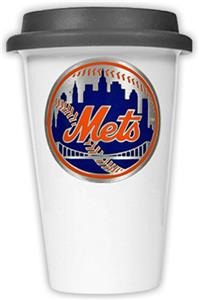 MLB Mets Double Wall Ceramic Cup with Black Lid