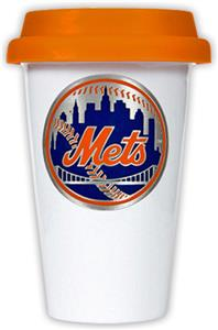 MLB Mets Double Wall Ceramic Cup with Orange Lid