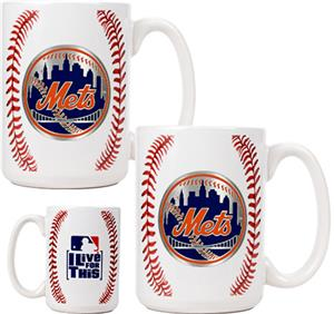 MLB Mets Ceramic Gameball Mug Set of 2