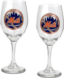 MLB New York Mets 2 Piece Wine Glass Set