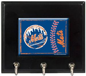MLB New York Mets Wood Keyhook Rack