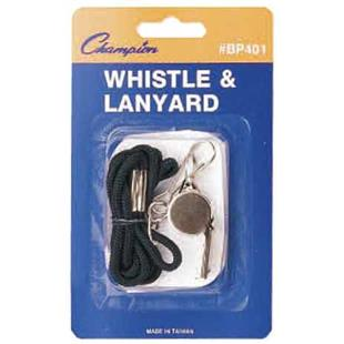 Champion Sports Black Lanyard w/ Whistle (12 Pack)