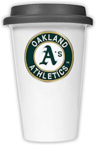 MLB Athletics Double Wall Ceramic Cup w/Black Lid