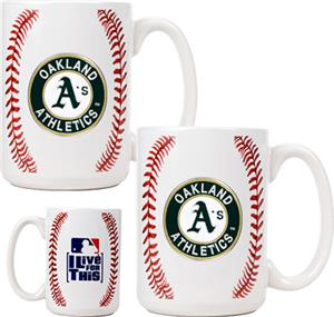 MLB Athletics Ceramic Gameball Mug Set of 2
