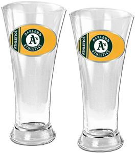 MLB Oakland Athletics 2 Piece Pilsner Glass Set