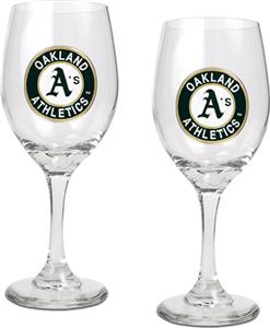 MLB Oakland Athletics 2 Piece Wine Glass Set