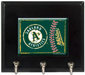 MLB Oakland Athletics Wood Keyhook Rack