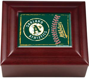 MLB Oakland Athletics Mahogany Keepsake Box