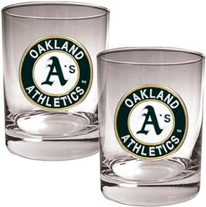 MLB Oakland Athletics 2 piece 14oz Rocks Glass Set
