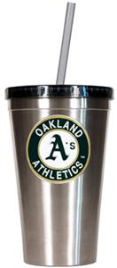 MLB Oakland Athletics Stainless Tumbler w/Straw