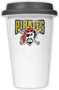 MLB Pirates Double Wall Ceramic Cup w/Black Lid