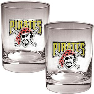 MLB Pirates 2 piece 14oz Rocks Glass Set