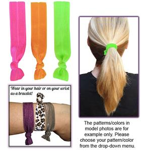 Fluorescent No-Tug Elastic Hair Ties/Bracelets