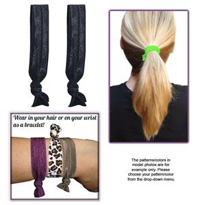Black No-Tug Elastic Hair Ties/Bracelets-Pair