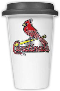 MLB Cardinals Double Wall Ceramic Cup w/Black Lid