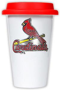 MLB Cardinals Double Wall Ceramic Cup w/Red Lid