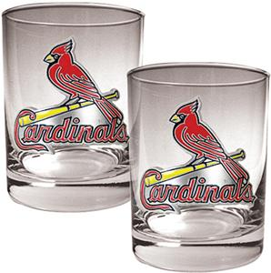 MLB Cardinals 2 piece 14oz Rocks Glass Set