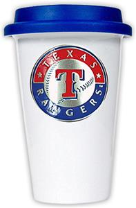 MLB Rangers Double Wall Ceramic Cup w/Blue Lid