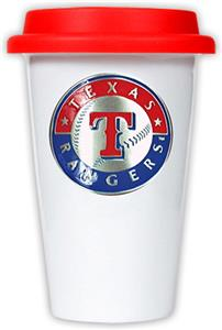 MLB Rangers Double Wall Ceramic Cup w/Red Lid