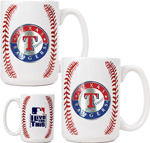 MLB Rangers Ceramic Gameball Mug Set of 2