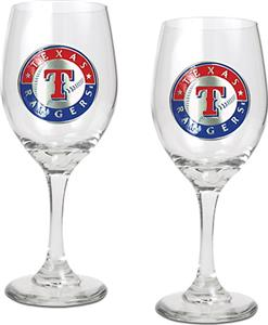 MLB Texas Rangers 2 Piece Wine Glass Set