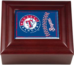 MLB Texas Rangers Mahogany Keepsake Box