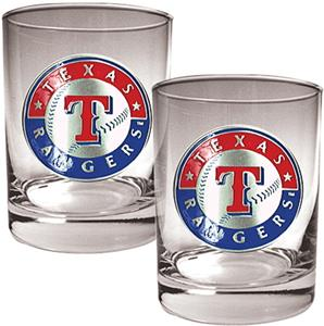 MLB Texas Rangers 2 piece 14oz Rocks Glass Set