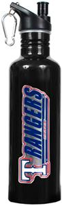 MLB Texas Rangers Black Stainless Water Bottle