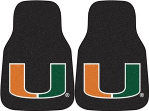 Fan Mats Univ of Miami Black Carpet Car Mats (set)