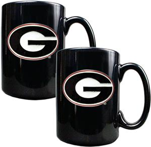 NCAA Georgia Bulldogs Black Ceramic Mug (Set of 2)
