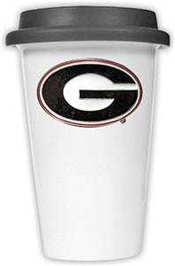 NCAA Georgia Bulldogs Ceramic Cup w/Black Lid