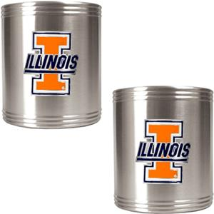 NCAA U of Illinois Stainless Steel Can Holders