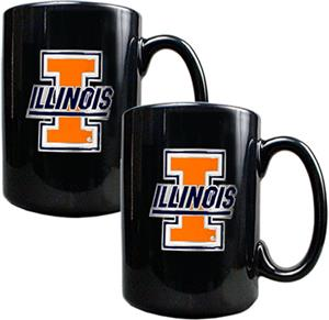 NCAA U of Illinois Black Ceramic Mug (Set of 2)
