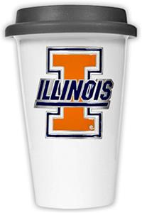 NCAA U of Illinois Ceramic Cup w/Black Lid