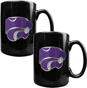 NCAA Kansas State Black Ceramic Mug (Set of 2)