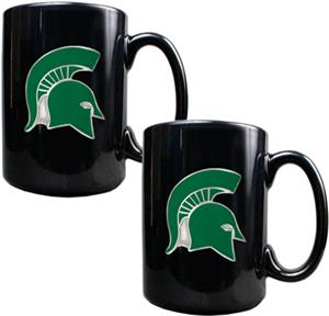 NCAA Michigan State Black Ceramic Mug (Set of 2)