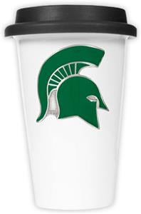 NCAA Michigan State Ceramic Cup w/Black Lid
