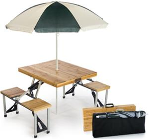 Picnic Plus Portable Wood Folding Picnic Table