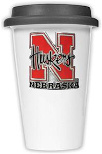 NCAA Nebraska Cornhuskers Ceramic Cup w/Black Lid