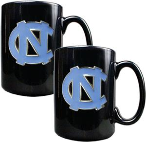 NCAA U of N Carolina Black Ceramic Mug (Set of 2)