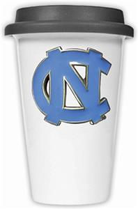 NCAA U of N Carolina Ceramic Cup w/Black Lid