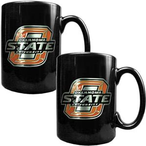 NCAA Oklahoma State Black Ceramic Mug (Set of 2)