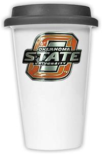 NCAA Oklahoma State Ceramic Cup w/Black Lid
