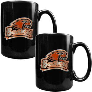 NCAA Oregon State Black Ceramic Mug (Set of 2)