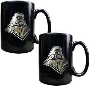 NCAA Purdue Black Ceramic Mug (Set of 2)