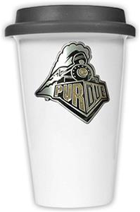 NCAA Purdue Boilermakers Ceramic Cup w/Black Lid
